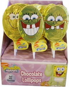 Sponge Bob Square Pants Real Milk Chocolate Lollipops 18ct (DISCONTINUED)