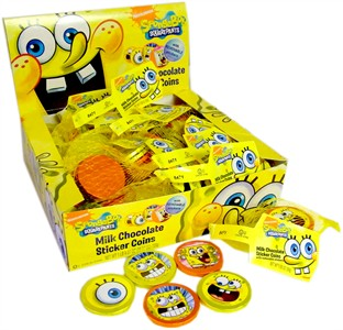 Spongebob Squarepants Milk Chocolate Sticker Coins 24ct. (Sold Out)