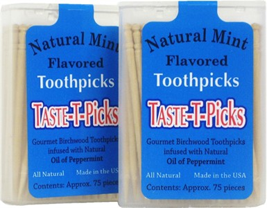 Taste-T-Picks Natural Mint Toothpicks Twin Pack
