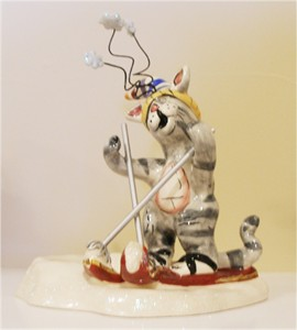 Kitten on Ski's Tealight Holder (Sold Out)