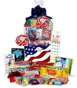 Patriotic USA Retro Candy Gift Basket