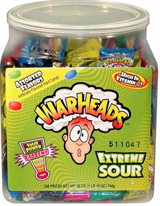 Warheads Extreme Sour Hard Candy 240ct. Tub
