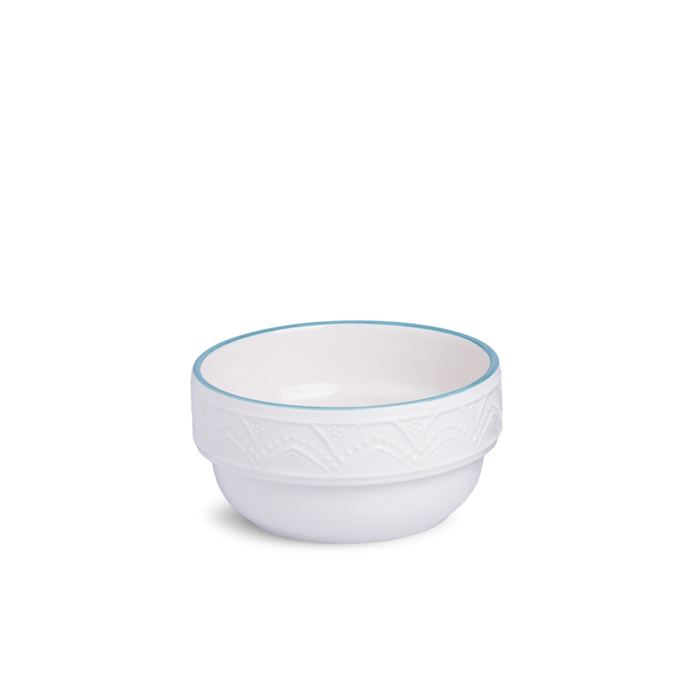 Bowl Serena Branco com Filete Azul Turquesa 500 ml Oxford