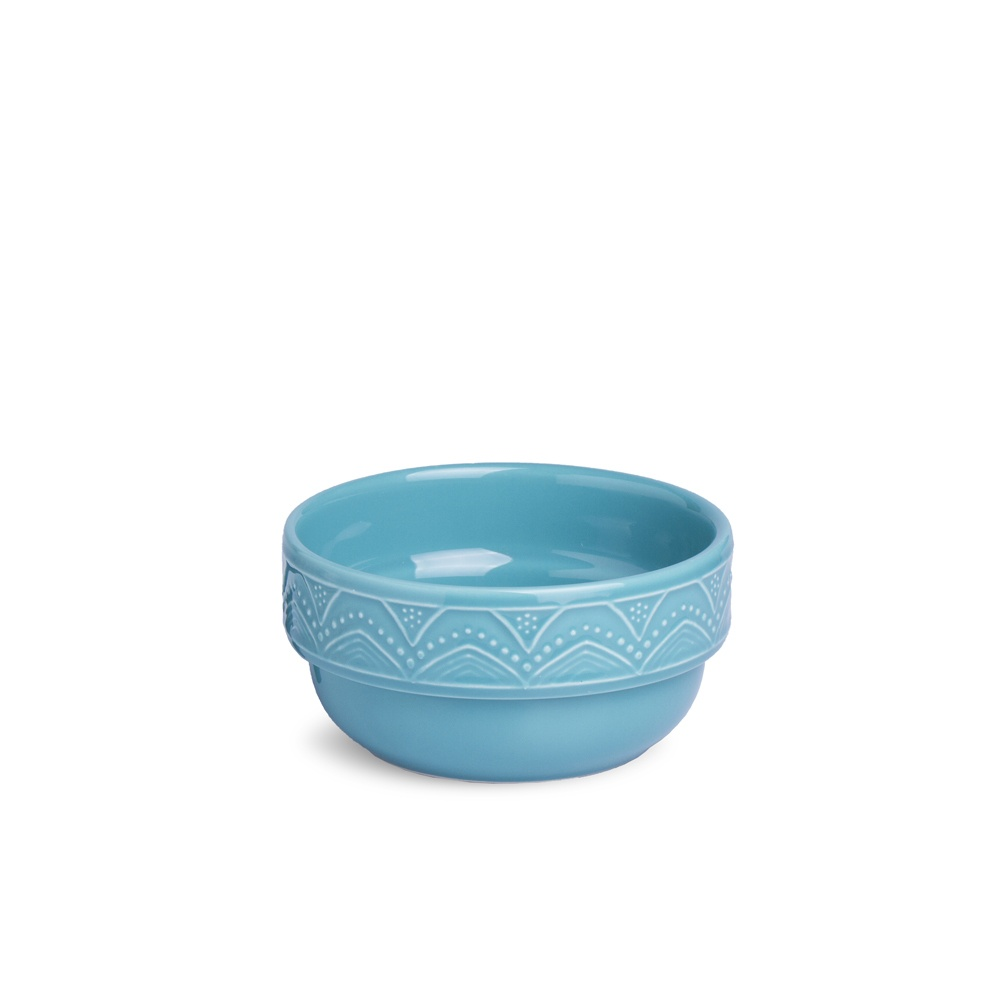 Bowl com Relevo e Decorado  500 ml 13,5 cm Serena Turquesa Oxford