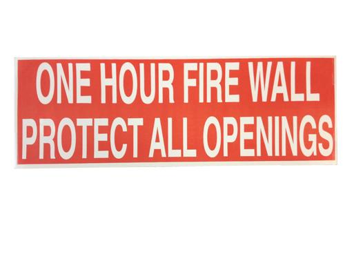One Hour Fire Wall Warning Label