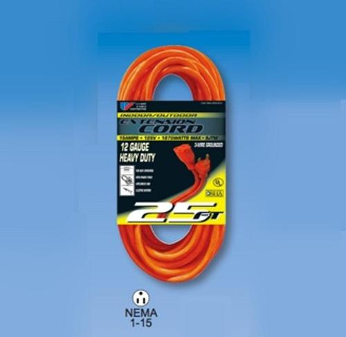 50 ft U.S. Wire and Cable Three Conductor Grounded Orange Cord - 300V
