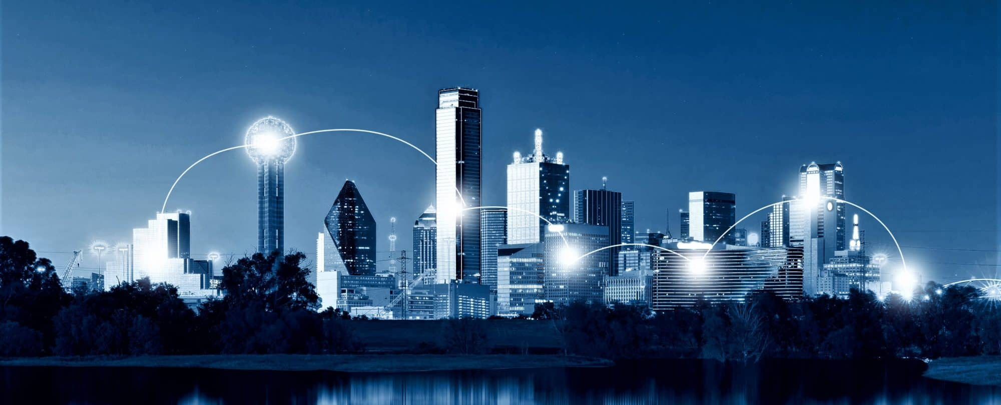 network and connection technology concept of dallas skyline