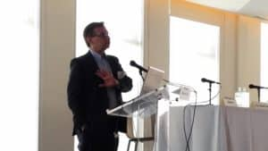 Walter Kemmsies, Economist and Chief Strategist, JLL presents the keynote address at CAPRE's 7th Annual Northeast Industrial Real Estate Summit, held on March 14, 2018 at Maritime Parc in Jersey City, NJ.