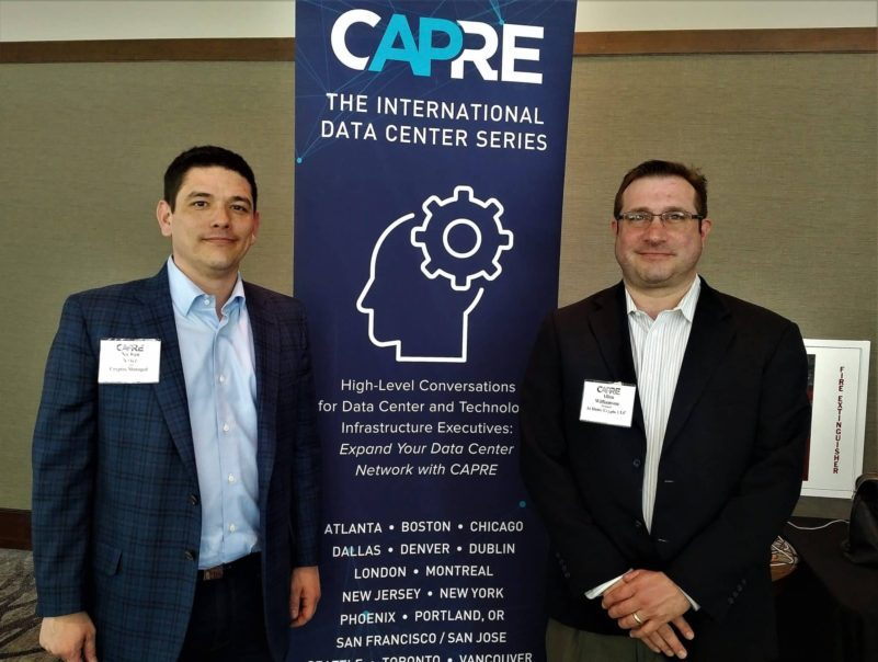 CAPRE's Southeast Data Center Summit Spring Update was held on March 28, 2018 at Embassy Suites in North Charleston, SC. Above: Nathan Porter, Partner, Cryptos Managed and Allan Williamson, Principal, At Home Crypto LLC.