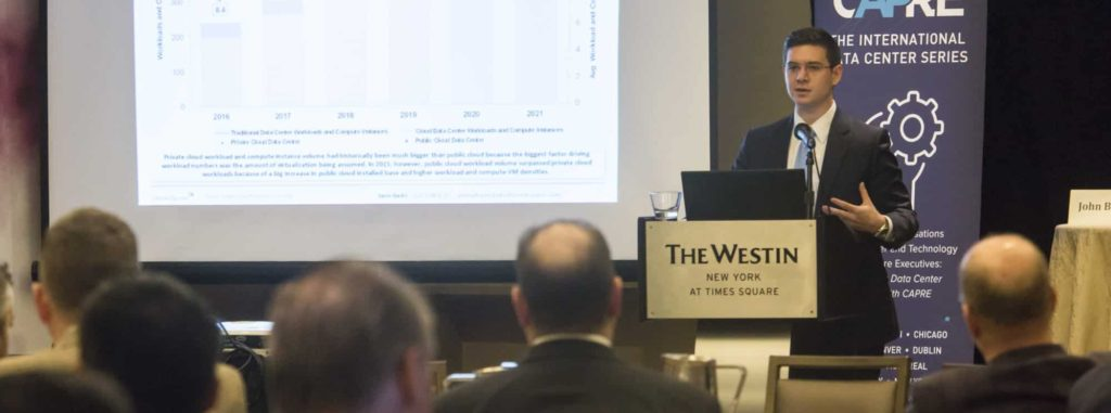 CAPRE's 7th Annual Greater New York Data Center Summit was held on April 5, 2018 at Westin New York at Times Square. Above: Sami Badri, Senior Analyst, Credit Suisse presents the keynote address: Cloud Enablers Boosting Enterprise Colocation Growth.