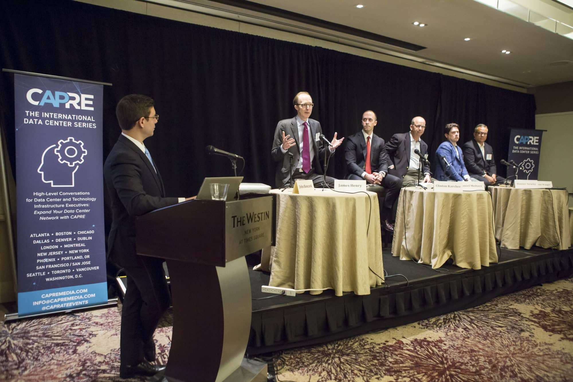 CAPRE's 7th Annual Greater New York Data Center Summit was held on April 5, 2018 at Westin New York at Times Square. Above: James Henry, Senior Managing Director, The Bank Street Group LLC contributes thought leadership.