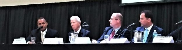 Above: Carl Dranoff, President and Founder, Dranoff Properties participates in CAPRE's Fourth Annual Newark CRE Summit on July 19, 2018 with representatives from Boraie Development, Paramount Assets and Iron Ore Properties.