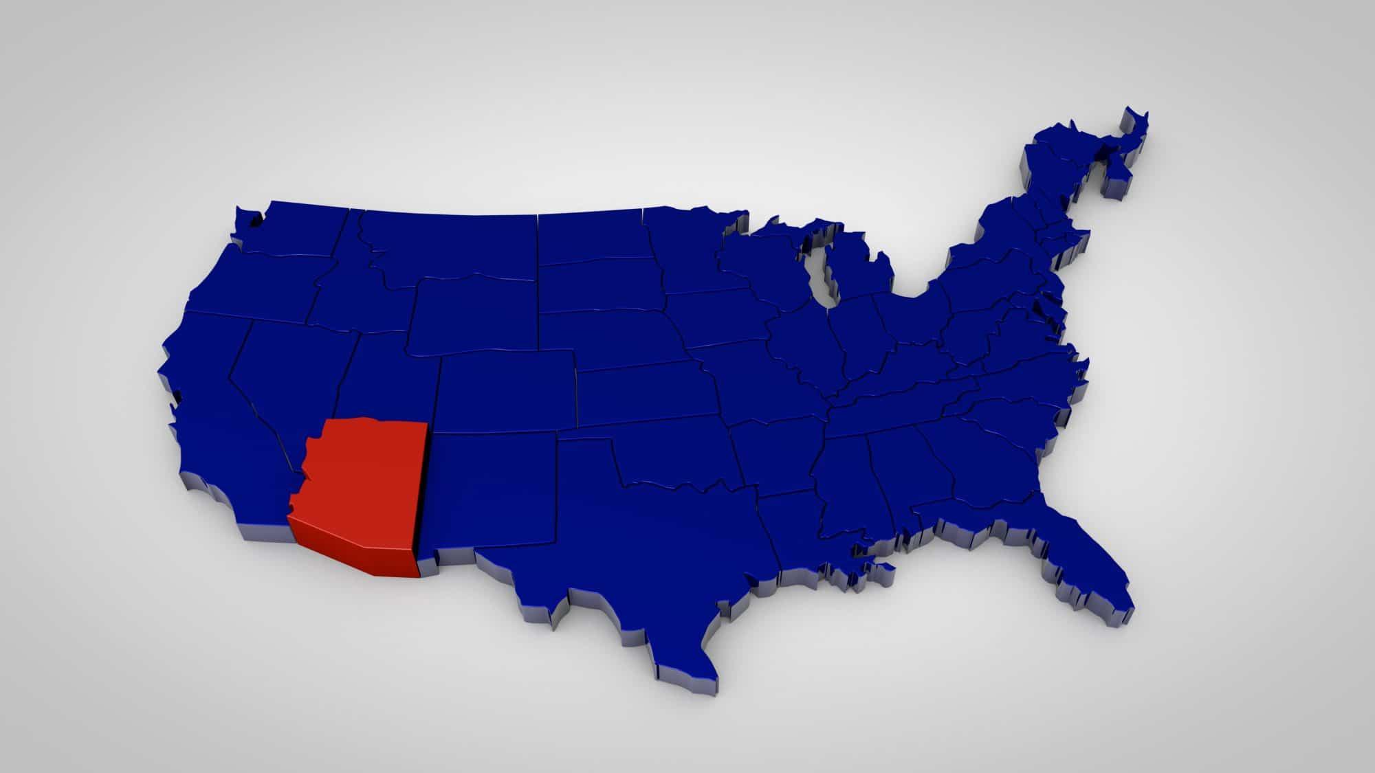 3d Map Of Arizona.Usa Map With Arizona Map Highlited 3d Render Capre Media Capre
