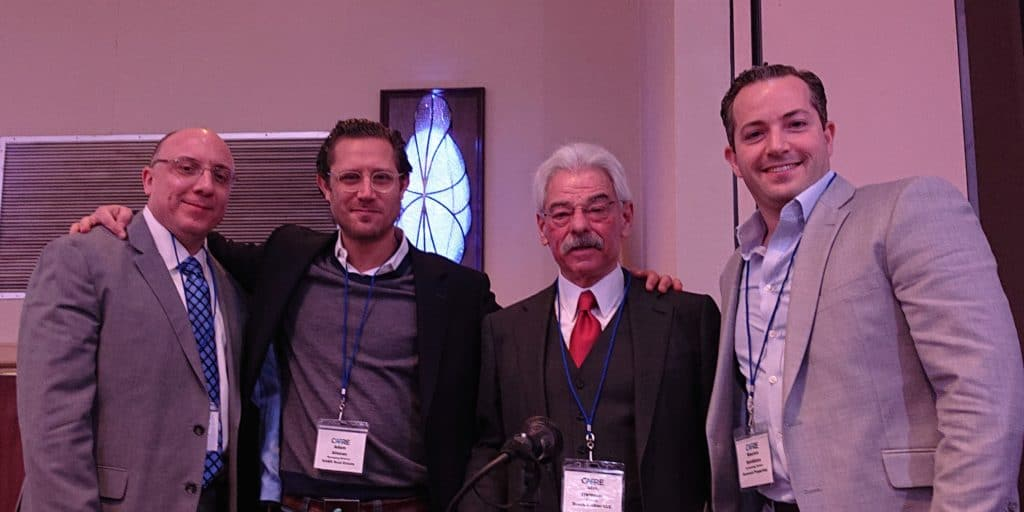 Jose Cruz of HFF with Adam Altman, KABR; Alan Hammer, Brach Eichler LLC; Maurice Hornblass, Hornrock Properties at CAPRE's 8th Annual New Jersey Apartment Summit on November 29, 2018.