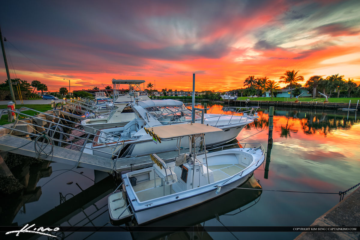 Boats at North Palm Beach Marina Sunset Small Fishing Boats