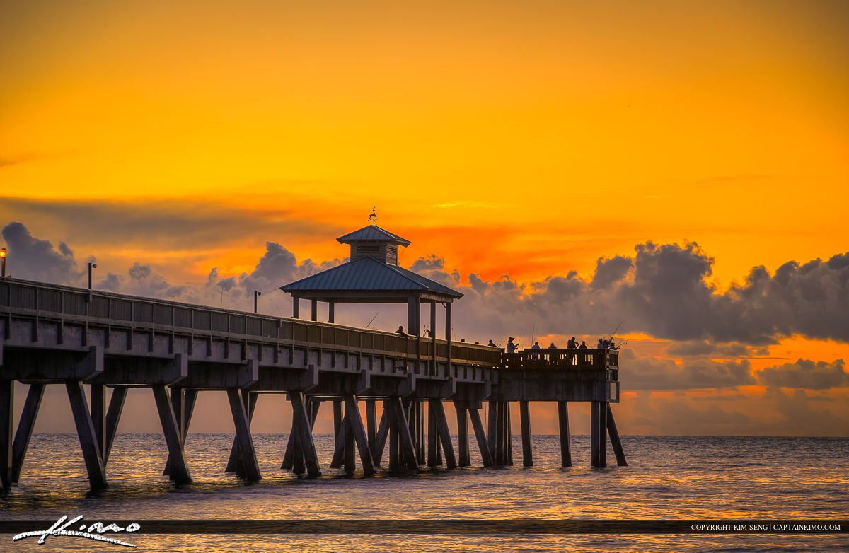 Deerfield Beach Fishing Pier Sunrise Warm Colors