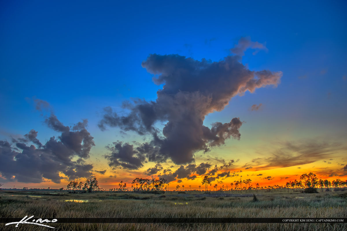 Florida Wetlands Jupiter Beauitful Sunset Clouds