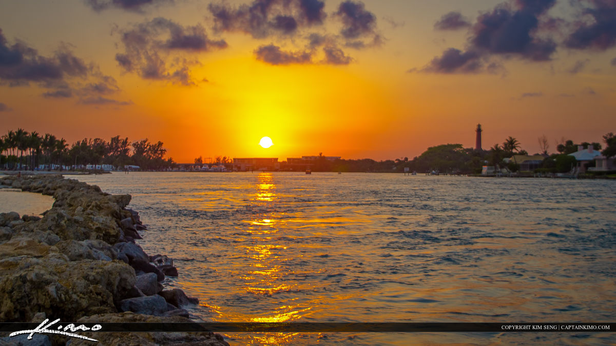 Jupiter Inlet Sunset Waterway with Lighthouse