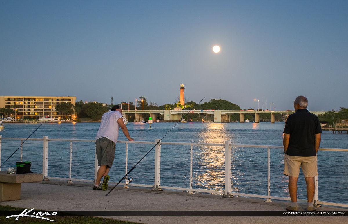 Jupiter Lighthouse Full Moon People Fishing at Park