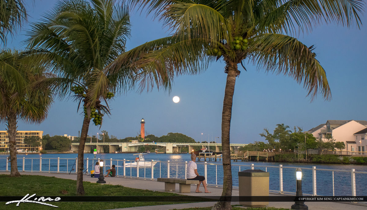 Jupiter Lighthouse Full Moon at Sawfish Bay Park