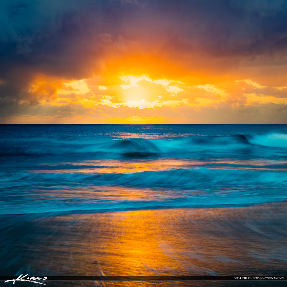Ocean Wave at Beach Glorious Sunrise