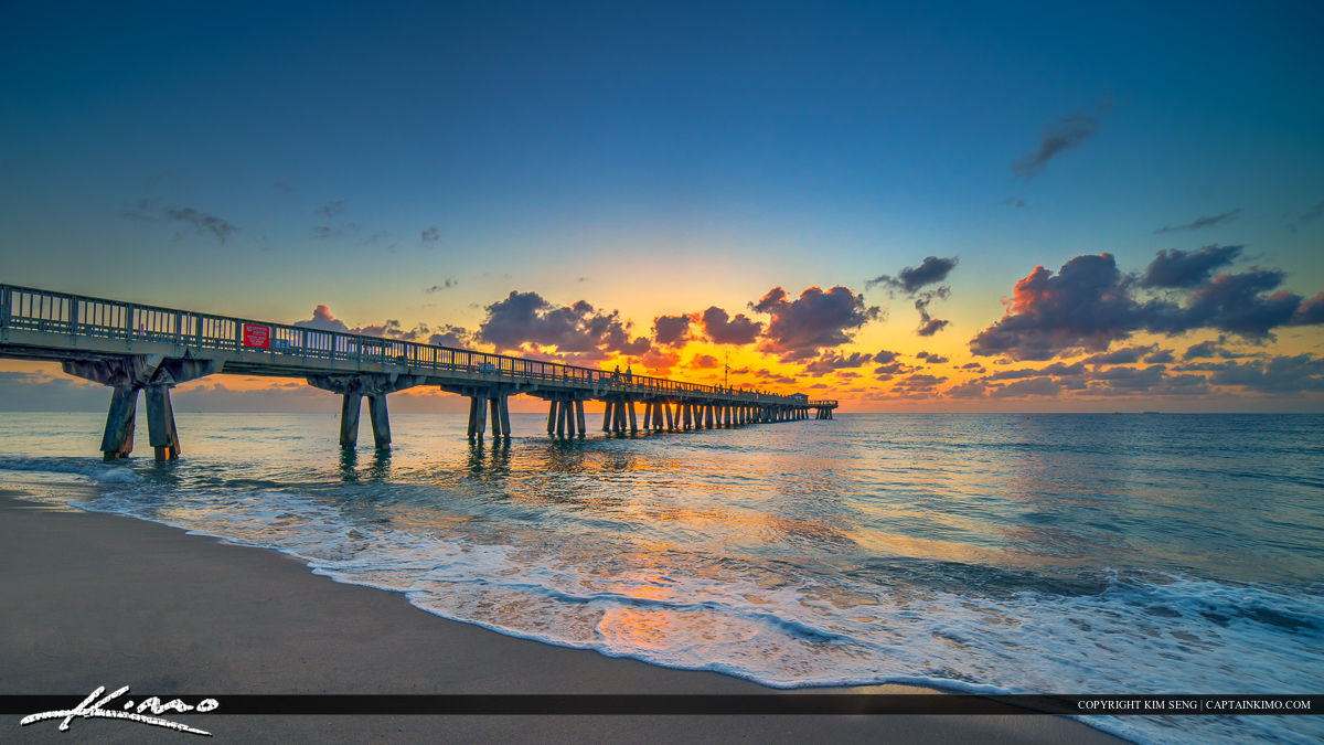 pompano beach fishing pier sunrise over the atlantic