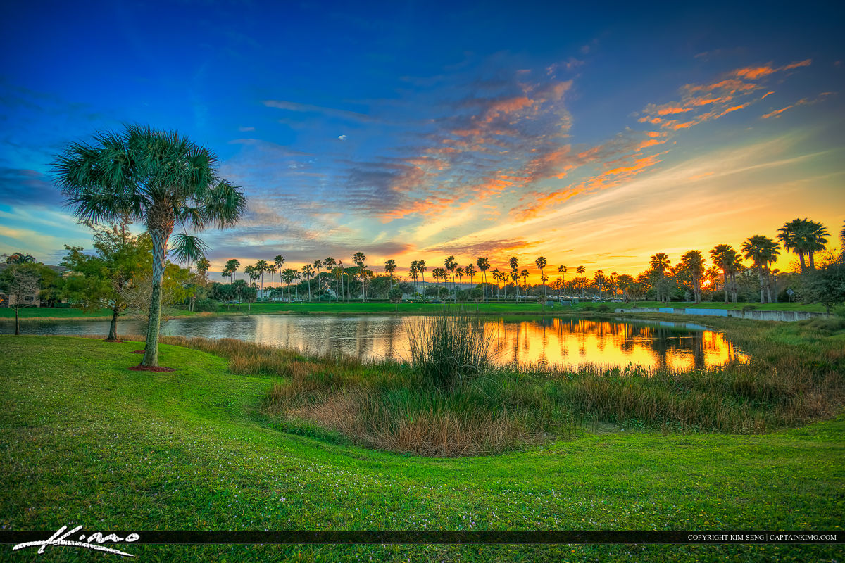 Sunset at Lake in Palm Beach Gardens Florida