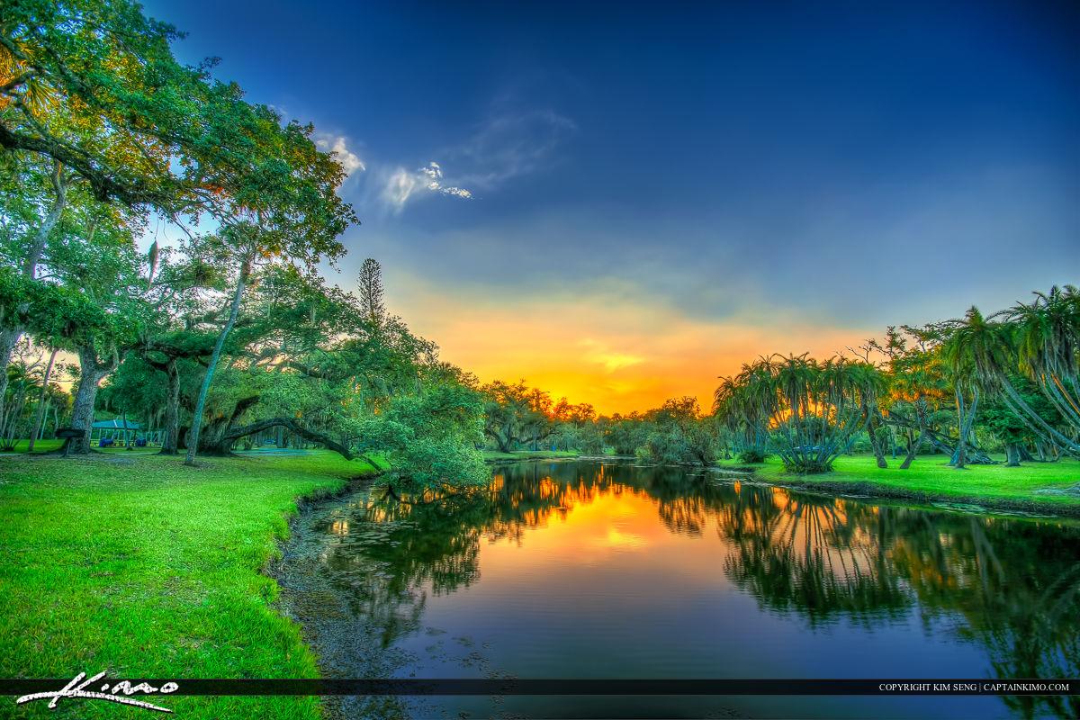 Lake Sunset at White City Park Fort Pierce Florida