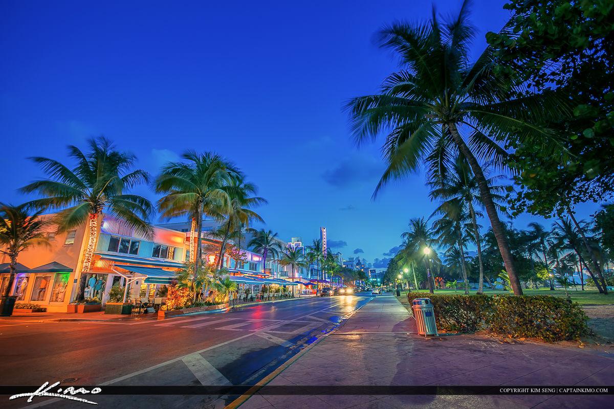 South Beach Miami Nighttime Ocean Drive