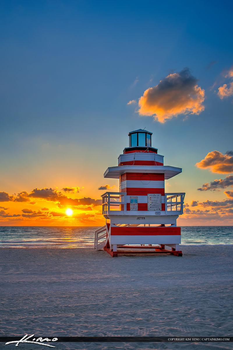 South Beach Miami Sunrise Lifeguard Tower