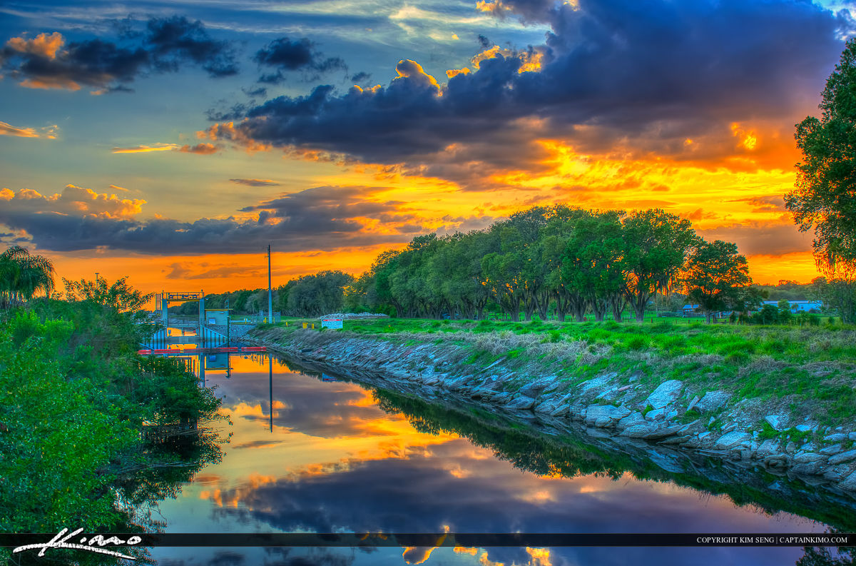 St Cloud Florida Sunset Osceola County Along the River Channel