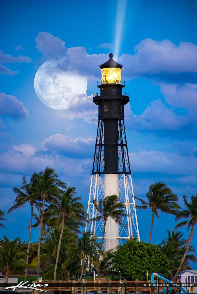 Hillsboro Lighthouse Fullmoon Rise Pompano Beach Inlet May 2015