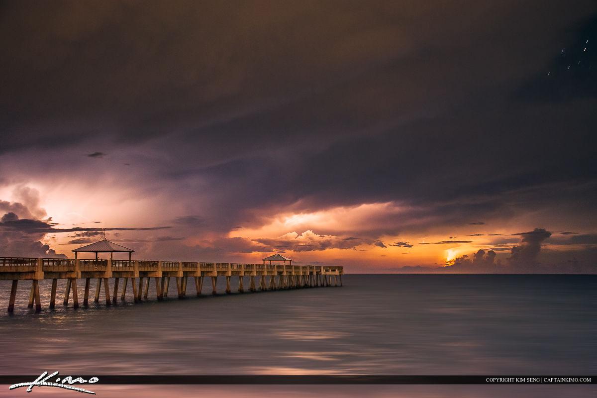 Raging Sea At Night Along The Juno Beach Pier Florida