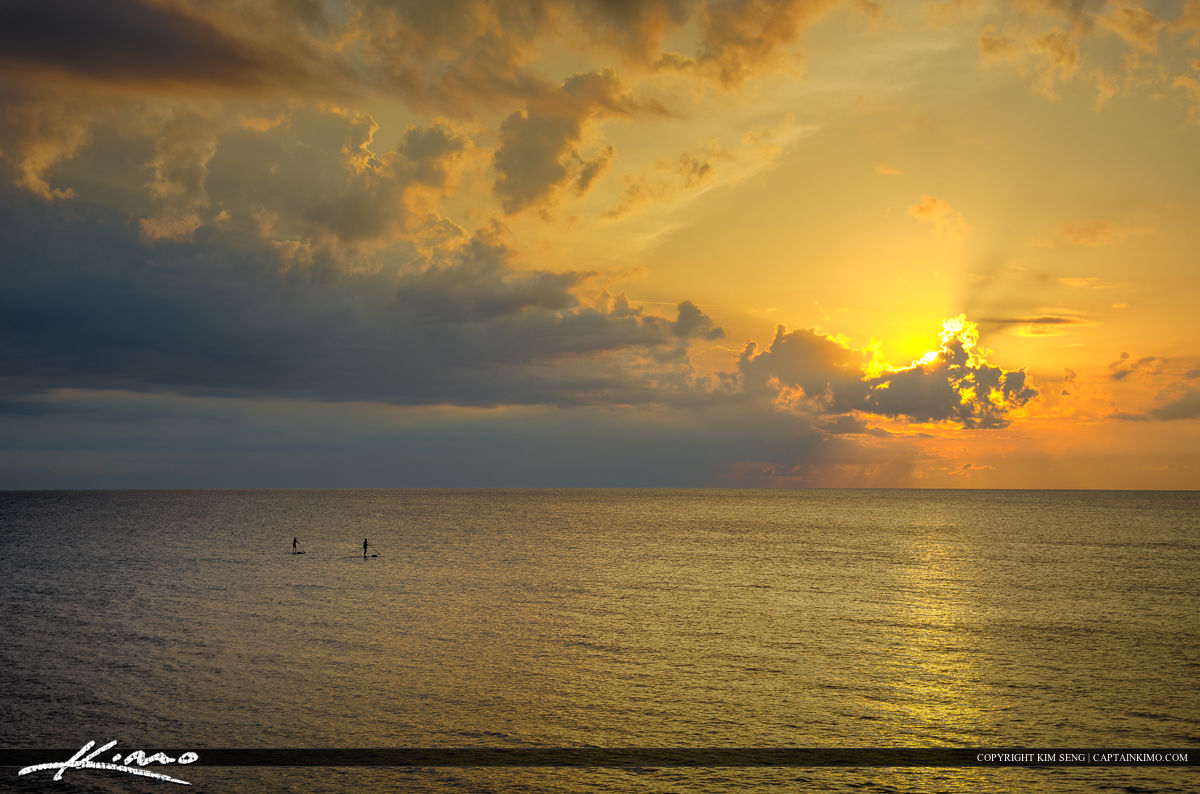 Paddle Boarding Ocean Sunrise Florida Beach