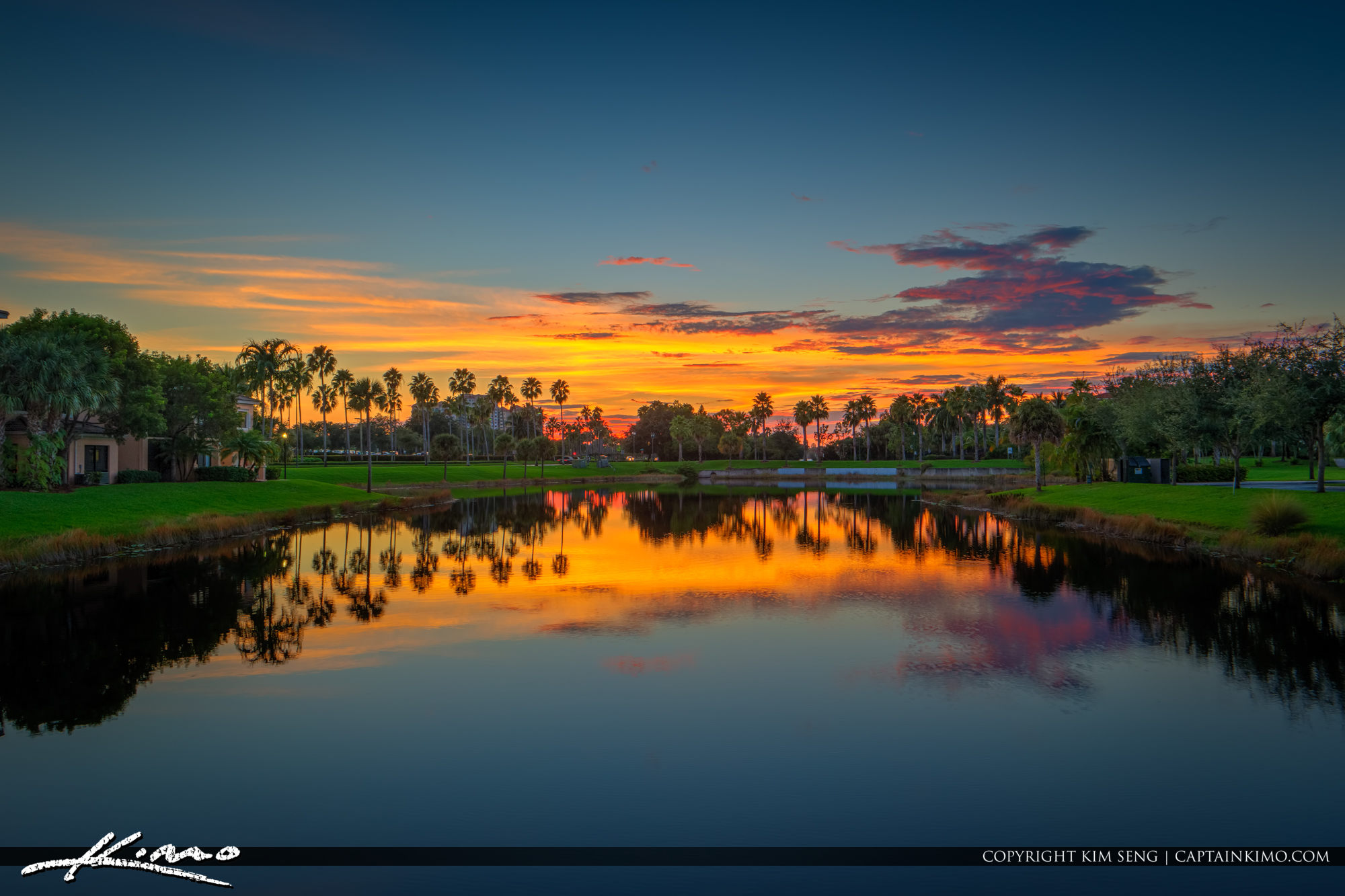 Colorful sunset over the lake palm beach gardens - Palm beach gardens mall shooting ...