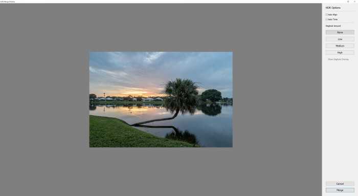 Adobe Lightroom CC HDR Merge Screen Shot