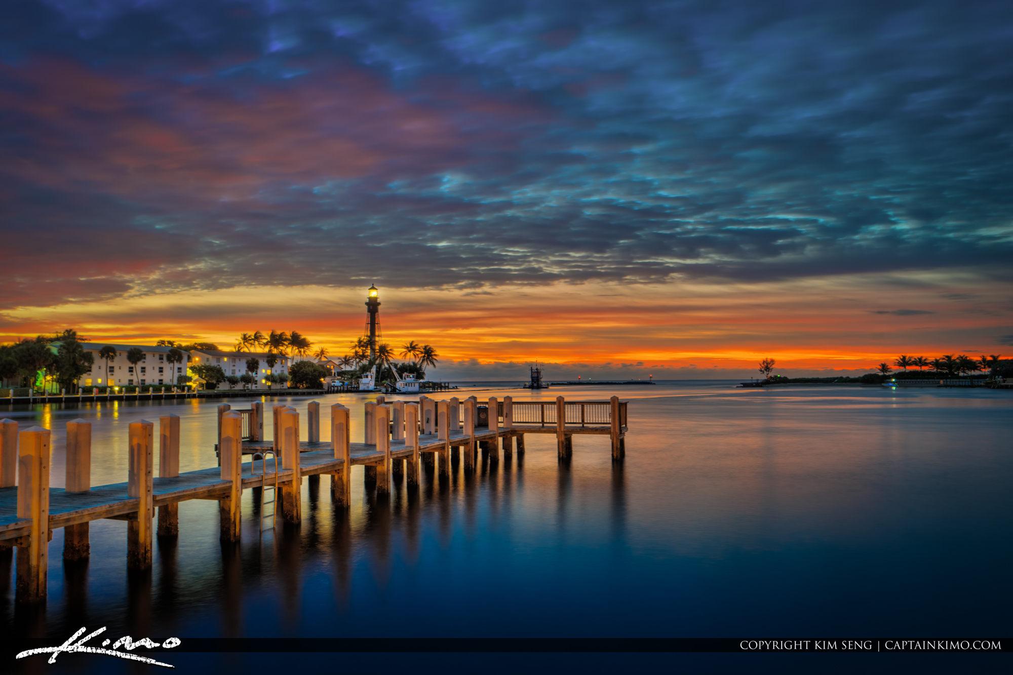 Hillsboro Lighthouse Sunrise Colors at Inlet