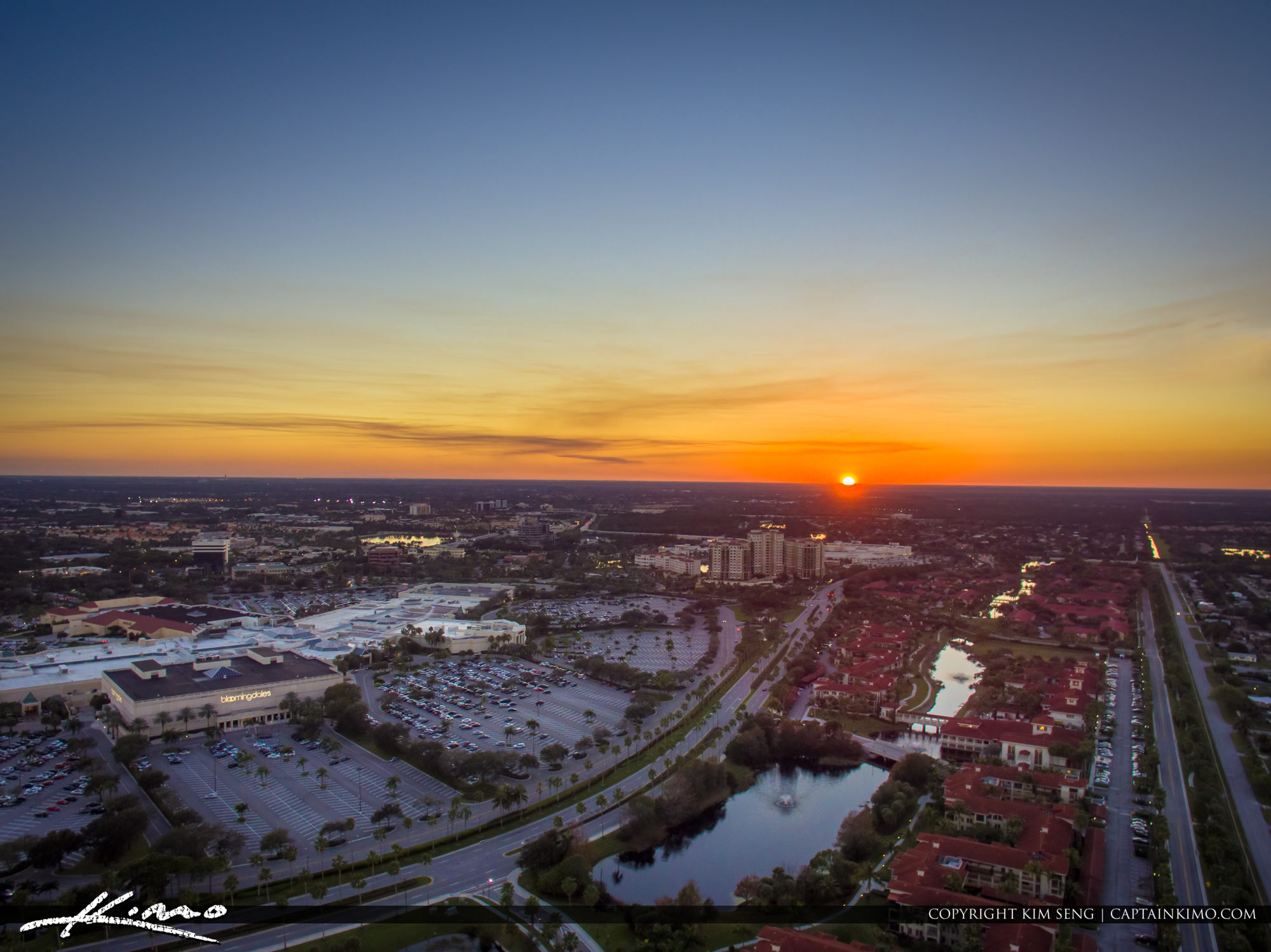 Sunset Aerial Palm Beach Gardens Over The Mall