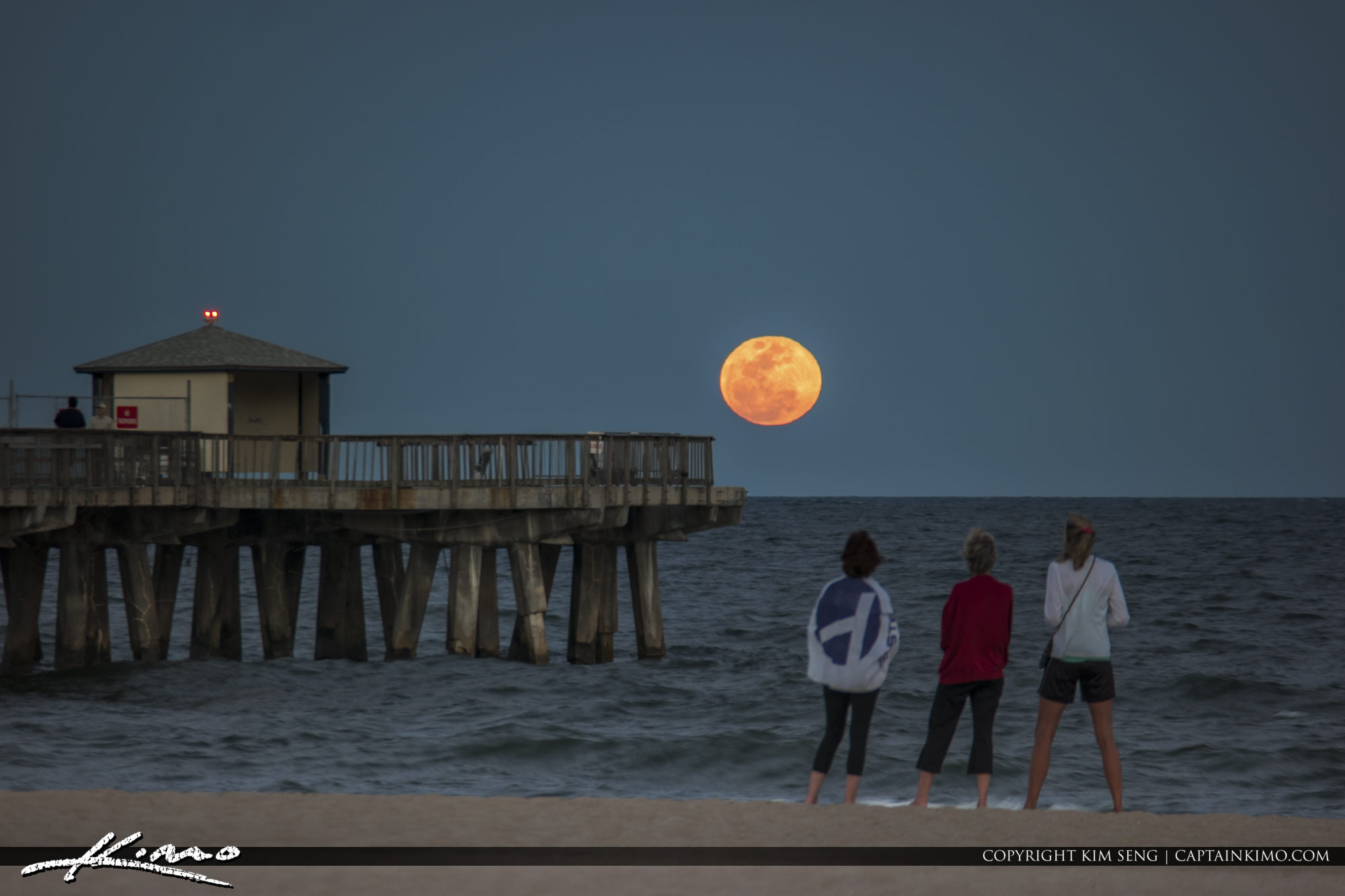 Full Moon Rise Over Pompano Beach Pier