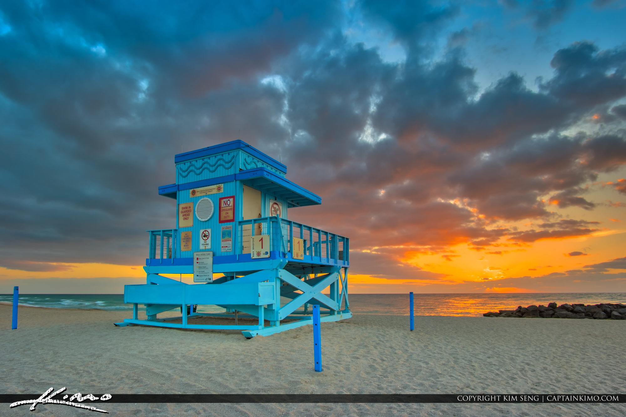 Sunrise Haulover Inlet at Beach Lifeguard Tower
