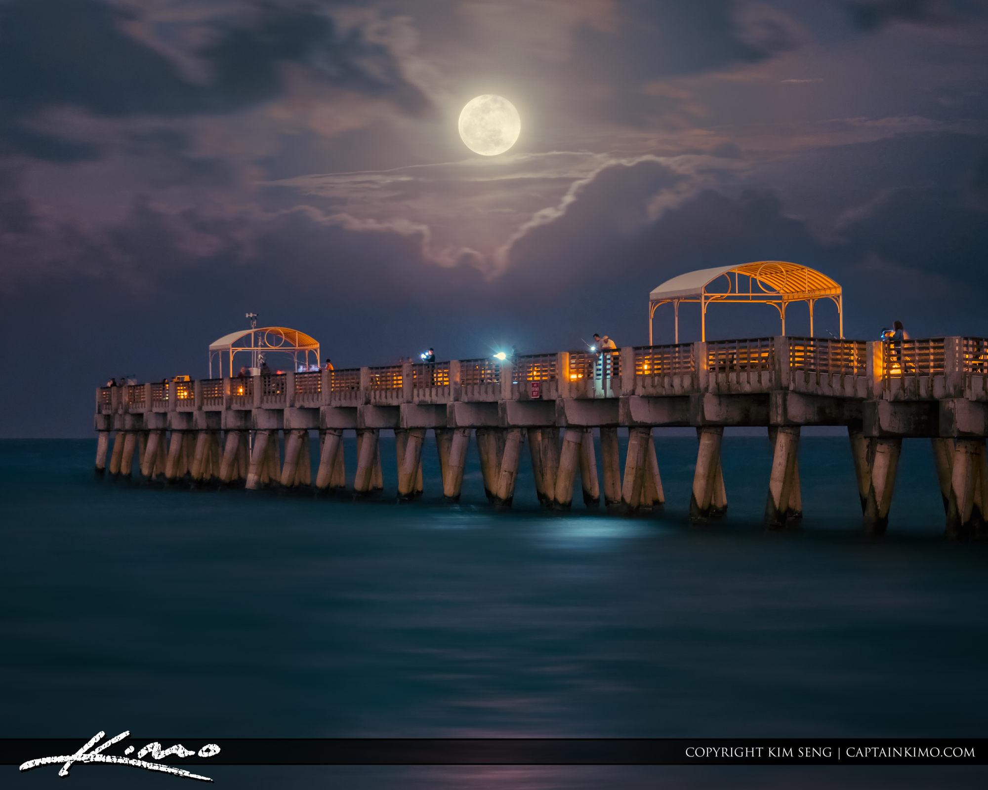 Lake Worth Pier Full Moon