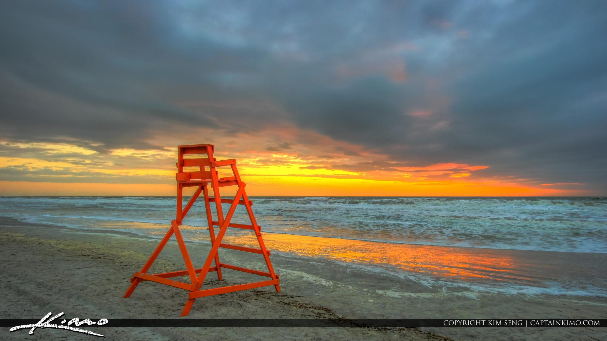 Jacksonville Beach Sunrise by Red Lifegaurd Tower