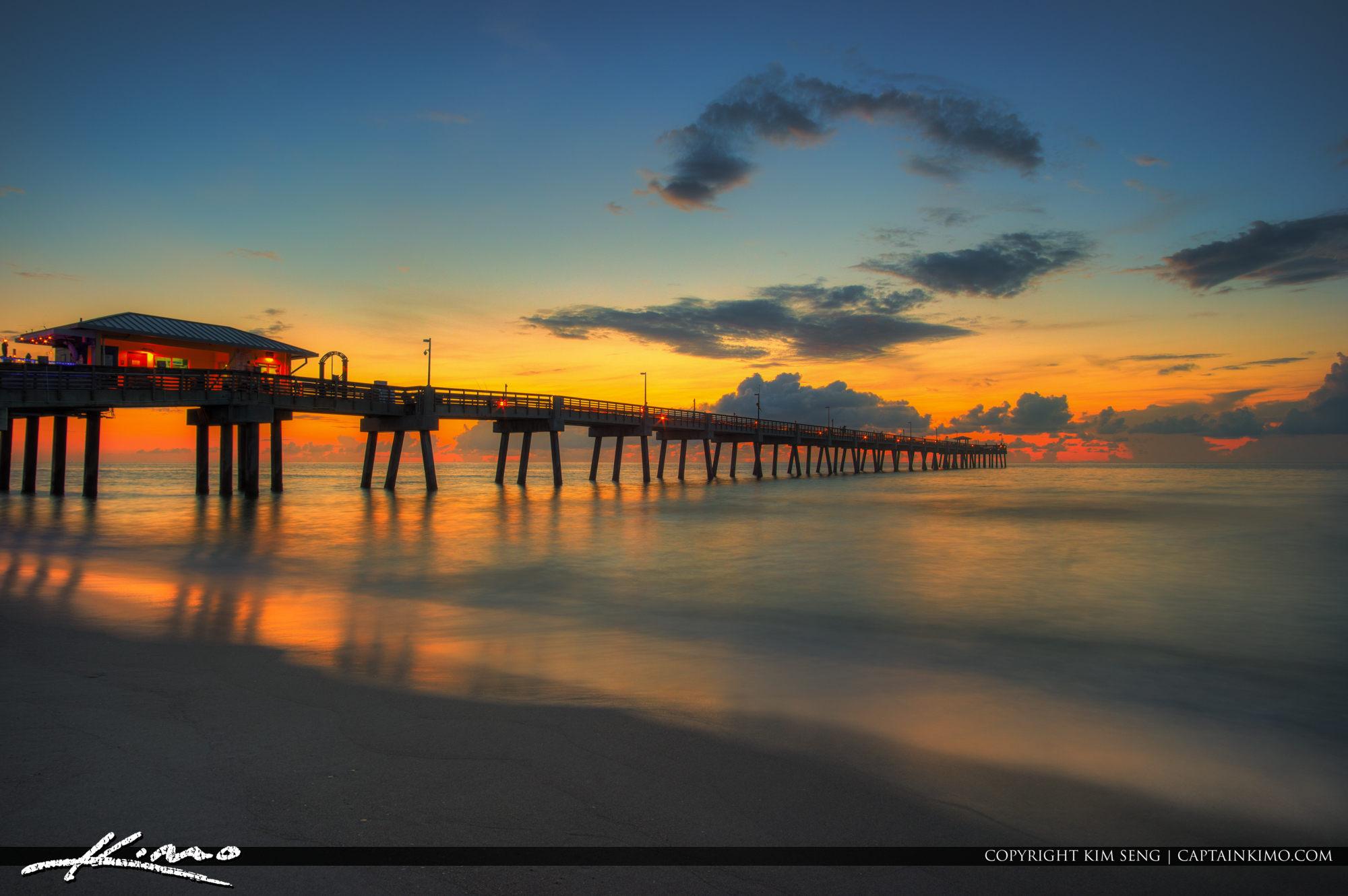 Dania Beach Pier Dreamy Warm Sunrise