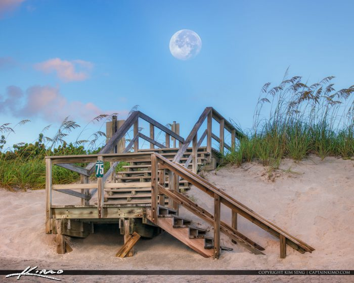 Moon Setting Over Jupiter Island Florida