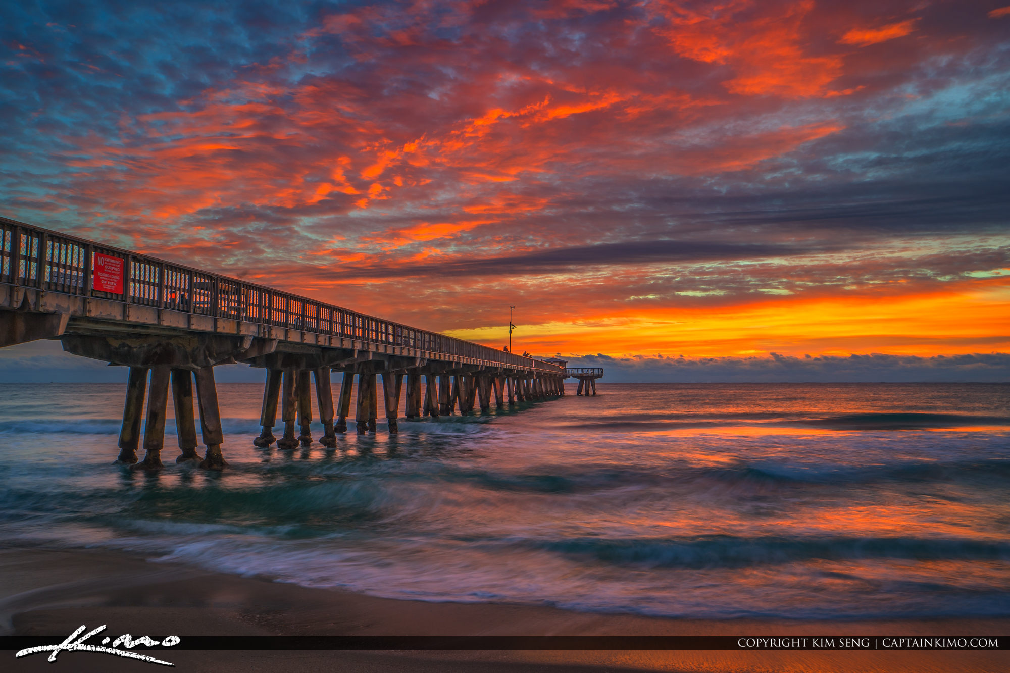 Pompano Beach Pier Sunrise with Amazing Sky Colors