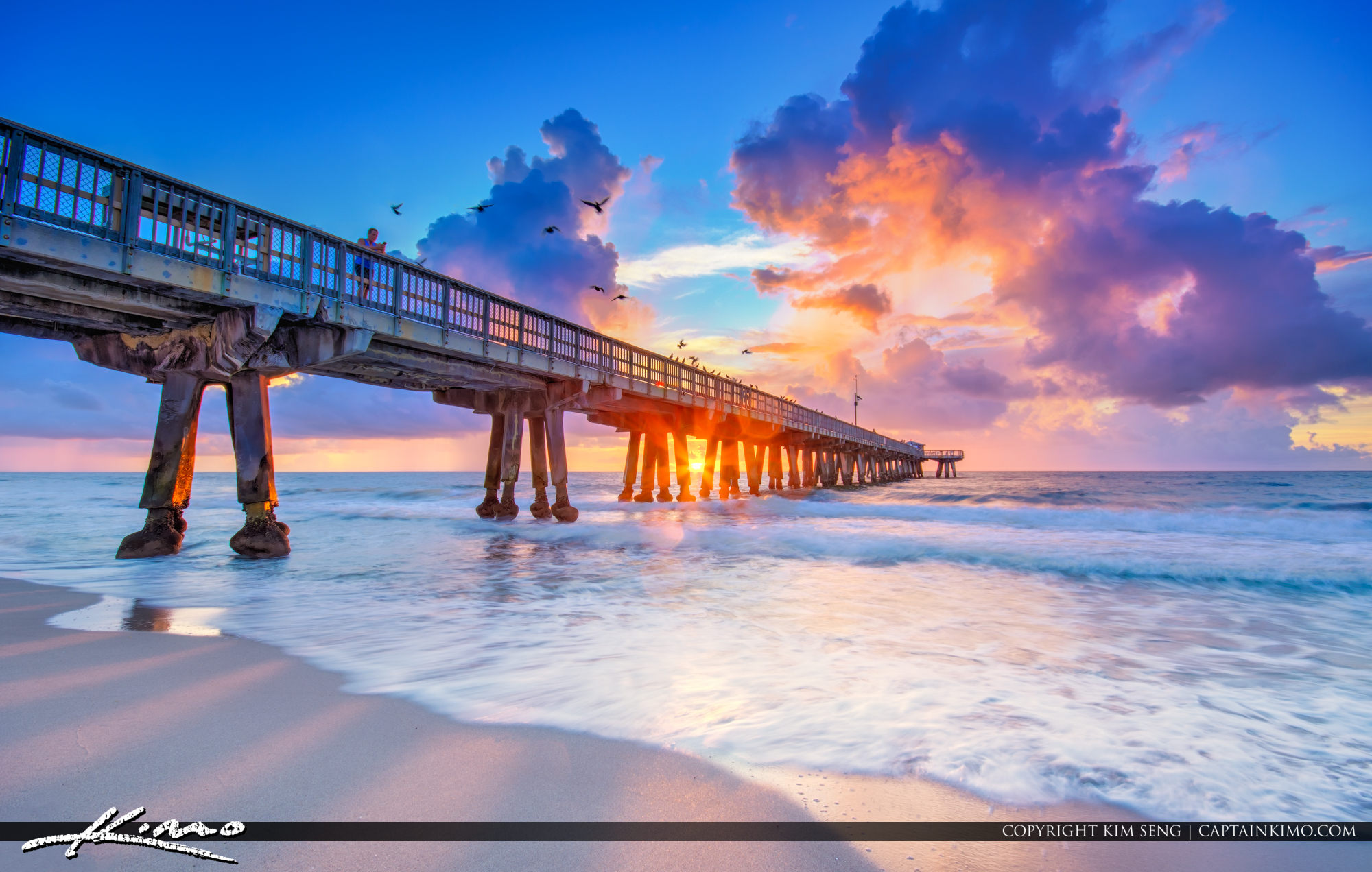 Pompano Beach Fishing Pier Purple Sunrise