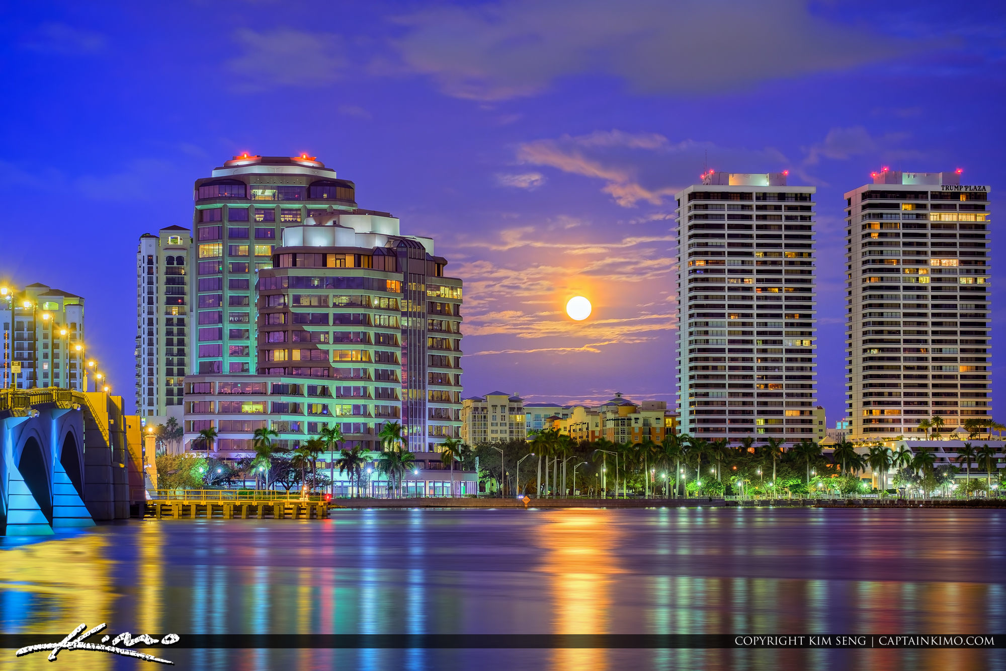 Moon Set Trump Plaza Condo Building West Palm Beach Florida