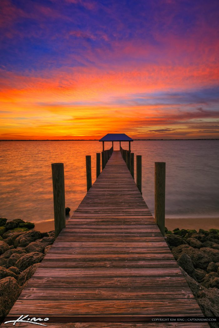 Pier At Sunset Stuart Florida Along The Waterway