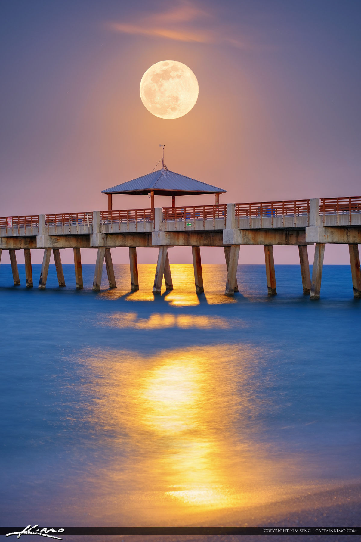 Beach Pier Home Decor For Living Room: Full Moon Rise Juno Beach Pier May 2017