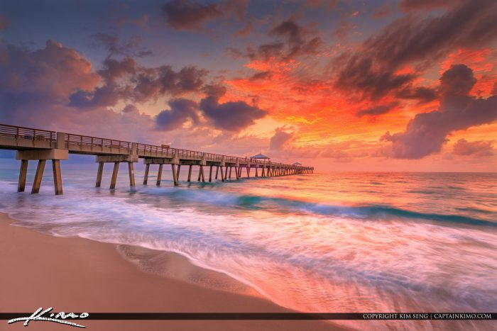Juno beach pier sunrise after the storm for Juno fishing pier